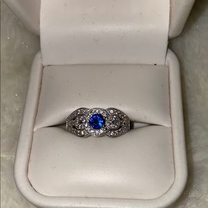 Blue Sapphire Sterling Silver Ring 7.5